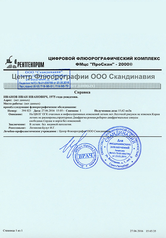 Справка флюорографии Школьная улица Справка 070 у Владыкино (14 линия)